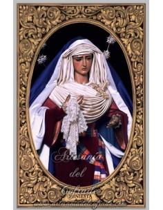 Azulejo rectangular de la Virgen de la Hiniesta de Sevilla