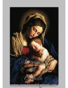Azulejo rectangular de la Virgen Maria y el niño Jesús