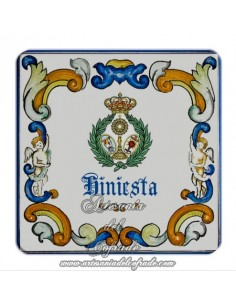 Imán cuadrado de plastico del escudo de la Hiniesta (Sevilla)