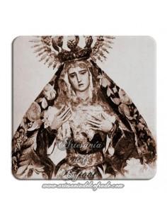 Imán cuadrado de plastico de fotografia antigua de la Virgen de la Hiniesta (Sevilla)
