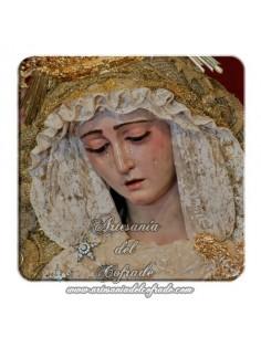 Imán cuadrado de plastico de la Virgen del Rosario de Sevilla (Cofradía de Montesión)