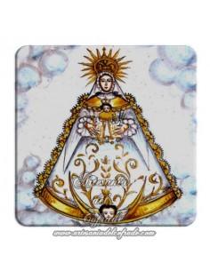 Imán cuadrado de plastico de fotografía antigua de la Virgen del Rocio.