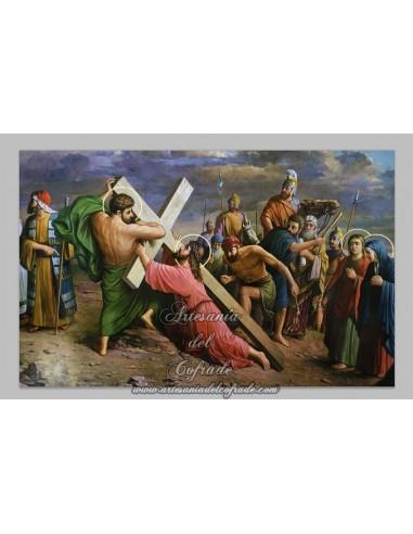 Azulejo rectangular de la caida de Cristo.