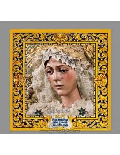 Azulejo cuadrado con la virgen de la macarena-Dios Bendiga cada rincón de esta casa