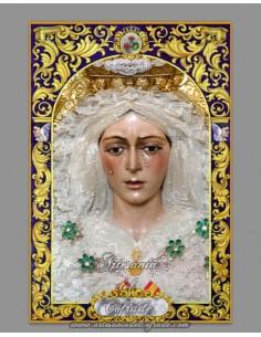 Azulejo rectangular de la Virgen de la Esperanza Macarena de Sevilla