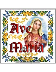 Azulejo cuadrado con el texto de Ave maría y la Virgen del Sagrado Corazón