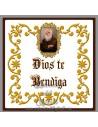 """Precioso azulejo cuadrado de Fray Leopoldo """"Dios te Bendiga"""""""