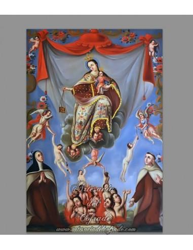 Azulejo rectangular del Monte del Carmelo y de las Ánimas del Purgatorio.