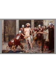 Placa madera 20x30 con escena de Jesús azotado