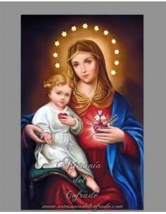 Placa madera 20x30 del Sagrado Corazón de María