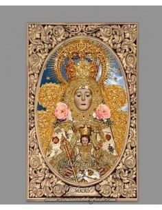 Azulejo rectangular con la Virgen del Rocio vestida de Reina