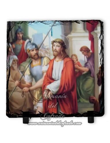 Pizarra 10x10 con escena del via crucis