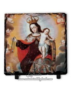 Pizarra cuadrada con la virgen del Carmen
