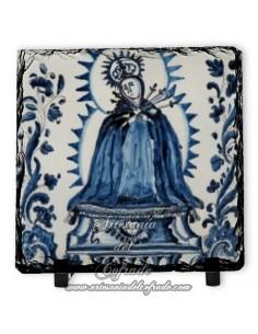 Pizarra cuadrada con virgen de los Dolores vintage