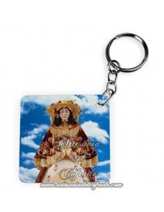 Llavero Cuadrado con la Virgen del Rocio de Almonte