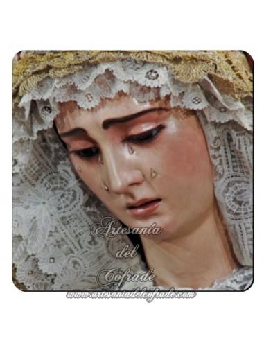 Imán cuadrado de plástico de la Virgen del Buen Fin (La Lanzada,Sevilla)