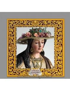 Azulejo cuadrado de la Divina Pastora de Cantillana