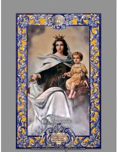 Azulejo rectangular con la Virgen del Carmen y lema