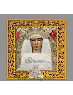 Azulejo cuadrado de la virgen del Dulce Nombre de Sevilla