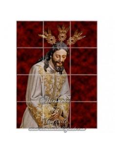 Retablo de 12 azulejos de N.P.J del Silencio en el Desprecio de Herodes de Sevilla