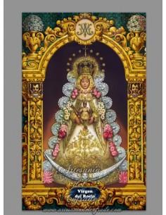 Azulejo rectangular de la Virgen del Rocio con greca. MOD01