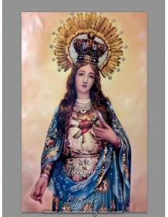 Bonito azulejo rectangular del Sagrado Corazón de Maria