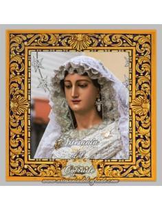 Azulejo cuadrado de la Virgen del Rocio de Malaga.