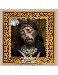 Azulejo cuadrado del Cristo del Rescate de Granada.