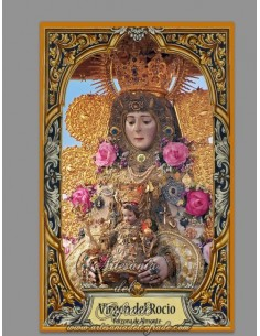 Azulejo rectangular con la Virgen del Rocio con greca.MOD02