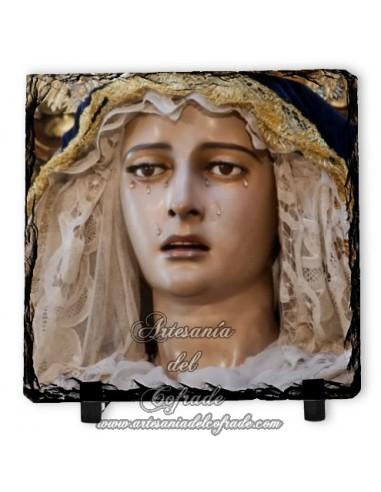 Baldosa de pizarra cuadrada de la virgen de la Concepción de Sevilla