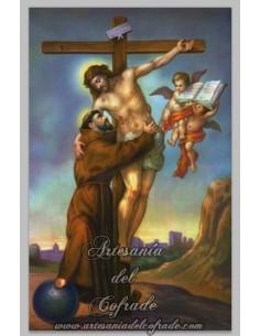 Azulejo del abrazo de San Francisco al Crucificado