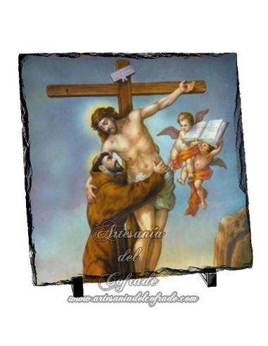 Baldosa de pizarra cuadrada del abrazo de San Francisco a Cristo en la cruz