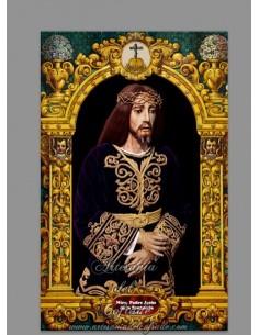 Azulejo rectangular del Cristo de la Sentencia de Cádiz