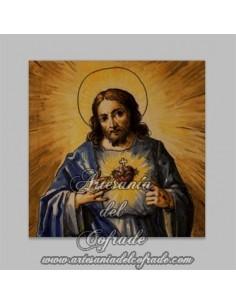 Azulejo cuadrado del Sagrado Corazón de Jesús