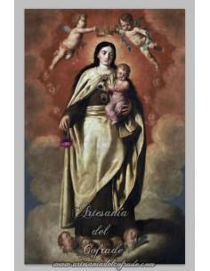 Precioso azulejo rectangular de la Virgen del Carmen.