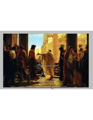 Precioso azulejo rectangular de la Presentación de Jesús al pueblo.