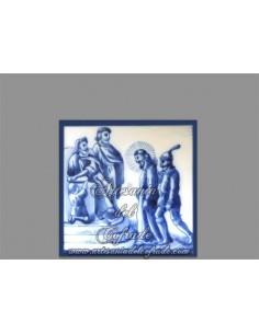 Azulejo cuadrado con momento de la Pasión de Cristo.REF:001
