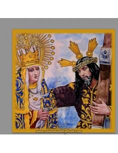 Azulejo cuadrado de los titulares de los Afligidos de Cadiz