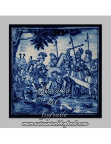 Azulejo cuadrado de la Pasión de Cristo.