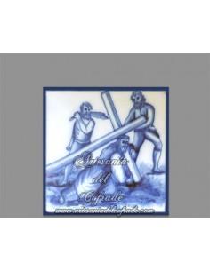 En venta azulejo cuadrado con momento de la Pasión de Cristo.REF:003