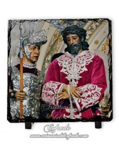 Portafoto de pizarra cuadrada del Cristo de la Sentencia (La Macarena, Sevilla)