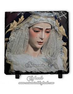 Baldosa de pizarra cuadrada de María Santísima del Rocío de Sevilla