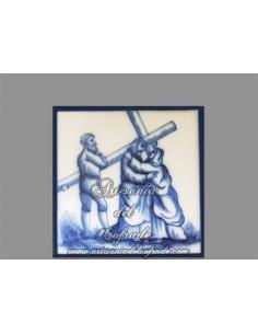 En venta azulejo cuadrado con momento de la Pasión de Cristo.REF:004