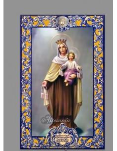Azulejo rectangular de la Virgen del Carmen con lema
