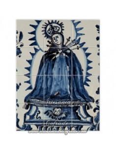 Retablo de 12 azulejos con Virgen de los Dolores con azul cobalto