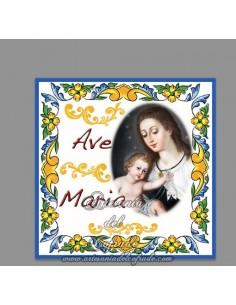 Azulejo cuadrado con Ave maría y la Virgen del Carmen