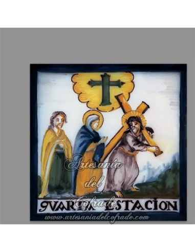 En venta este azulejo con escena de la cuarta estación del Via crucis