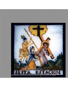 Azulejo cuadrado con la sexta estación del Via crucis