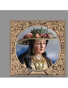 Azulejo cuadrado con la Divina Pastora de Cantillana