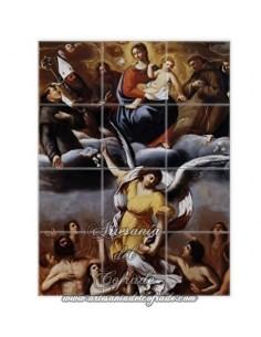 Retablo de 12 azulejos de las Almas del purgatorio